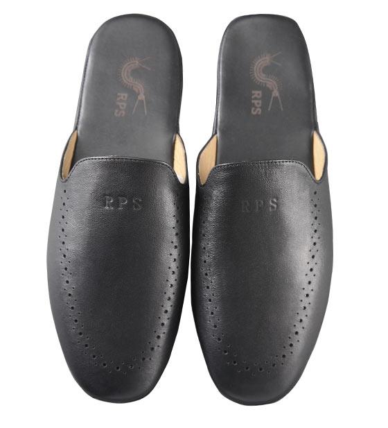 rps男式真皮拖鞋(黑色)
