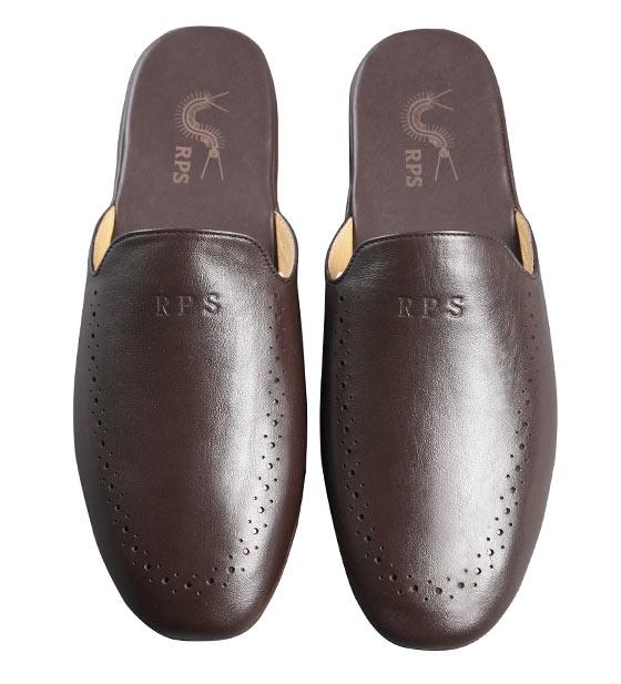rps男式真皮拖鞋(棕色)