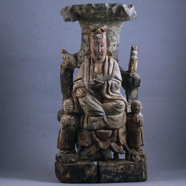清代木雕观音童子龙女像