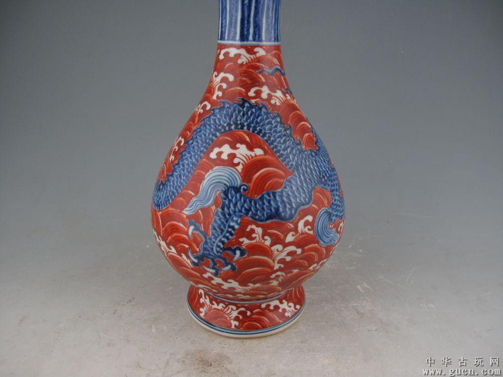 高仿明宣德矾红海水青花龙纹蒜头瓶