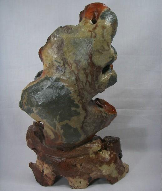 红花石灵芝雕刻摆件